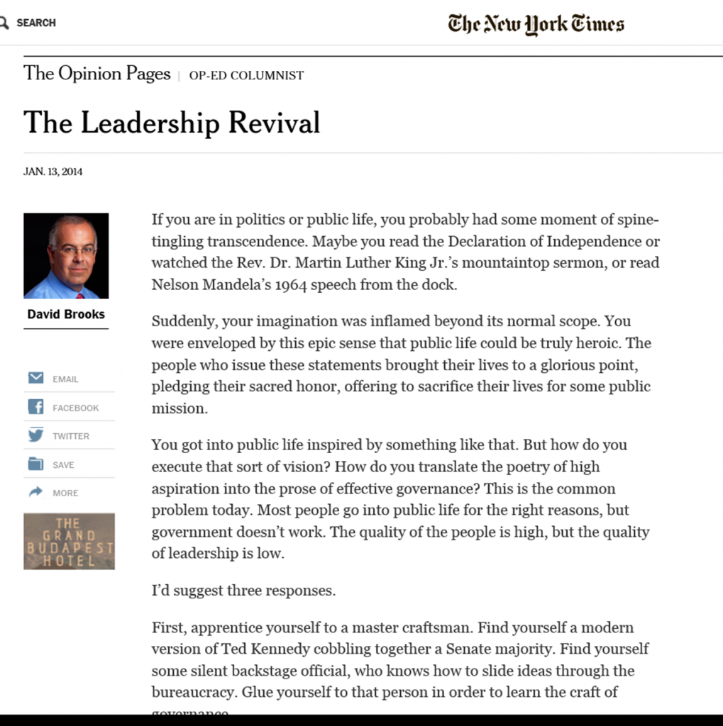 David Brooks Article